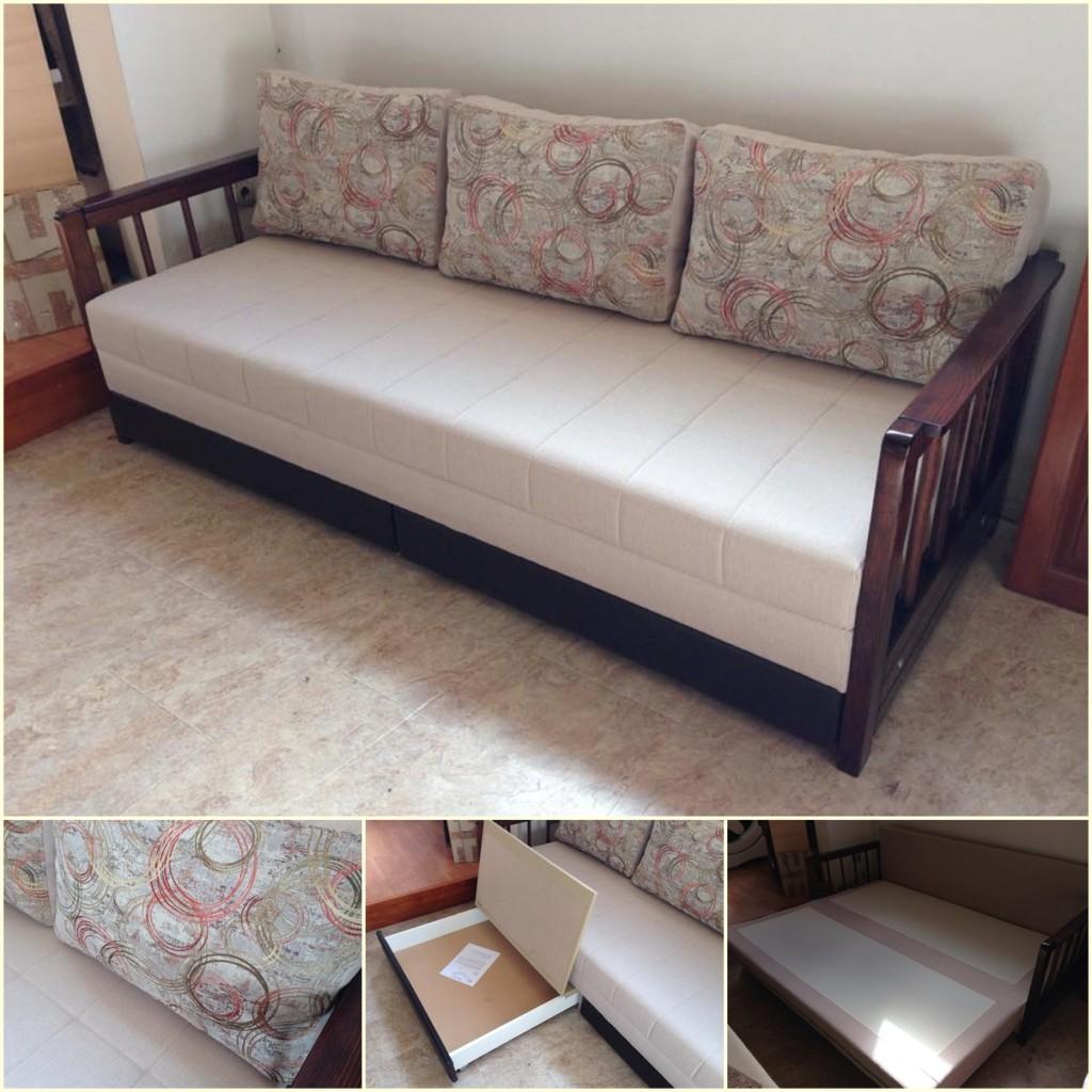"""Ležaj """"Tanja"""". Prostor za spavanje dobija se izvlačenjem fioka i preklapanjem sedećeg dela. Dimenzije rasklopljenog ležaja su 160x200cm."""