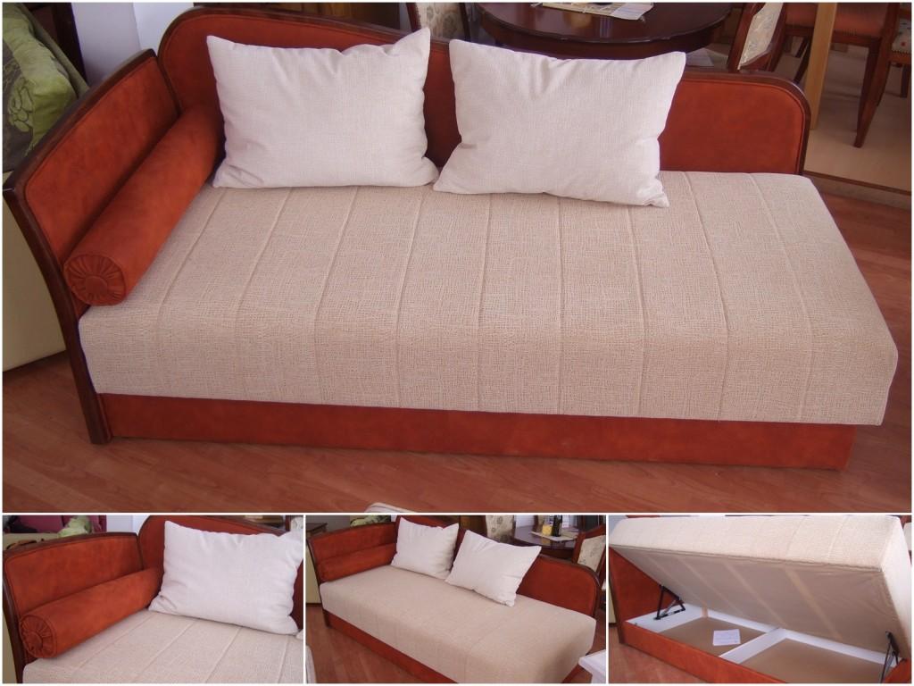 """Sofa """"Suzana Lux"""". dim.90x200cm. Žičano jezgro dodatno ojačano sunđerom, kutija za posteljinu ispod sedećeg dela (sedeći deo se lako podiže zbog ugrađenih makaza)."""