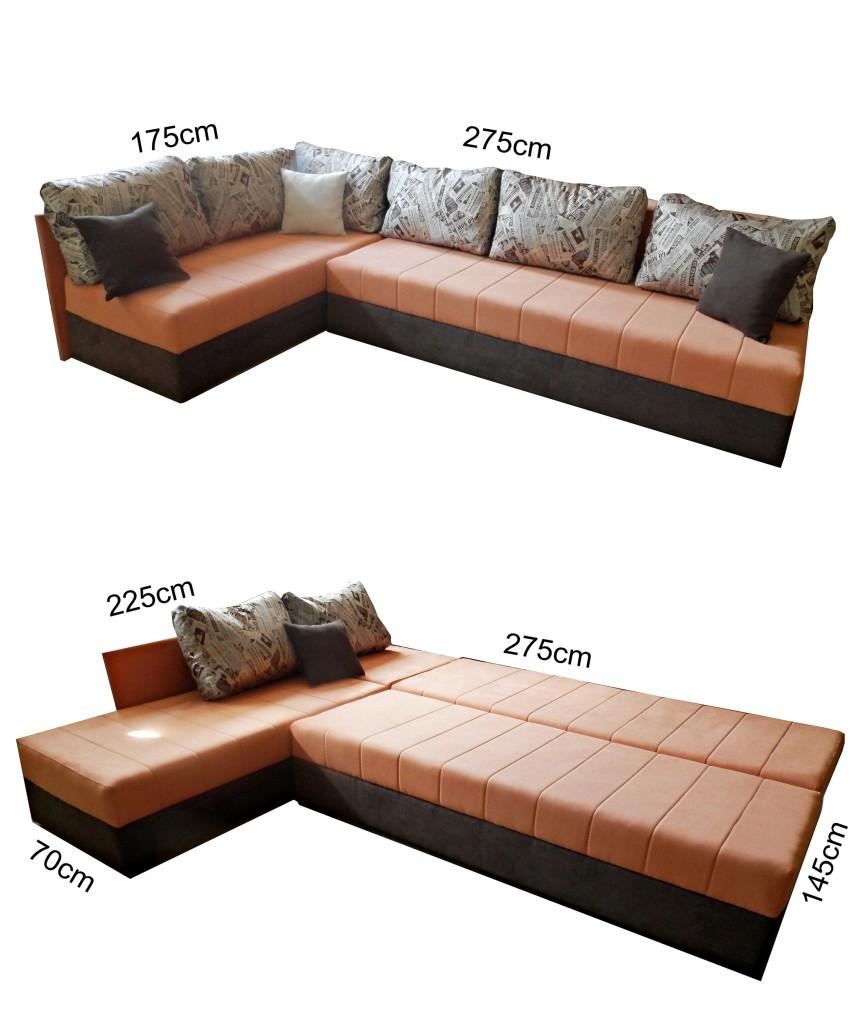 Ugaona garnitura, dim.275x175cm.  I levi i desni deo se izvlače ka napred a naslon se obara tako da se dobija prostor za spavanje.  Ispod sedećeg dela se nalazi kutija za posteljinu. Levi i desni deo mogu da se razdvoje pa da budu kao dva odvojena kreveta ne mora biti ugaona garnitura.