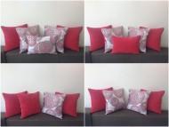 Novo! Crveni dekorativni jastuci.  Dimenzije 40x40cm.    Punjeni pahuljama sundjera.    Svaka navlaka ima rajsferslus tako da moze da se skida i pere.    Veoma kvalitetni i jaki materijali koji se koriste za tapaciranje nameštaja.     Cena jednog jastuka 300 dinara.  Dva su crvena sa obe strane, jedan je skroz šaren, i dva su pola/pola (sa jedne strane crveno, sa druge šareno).