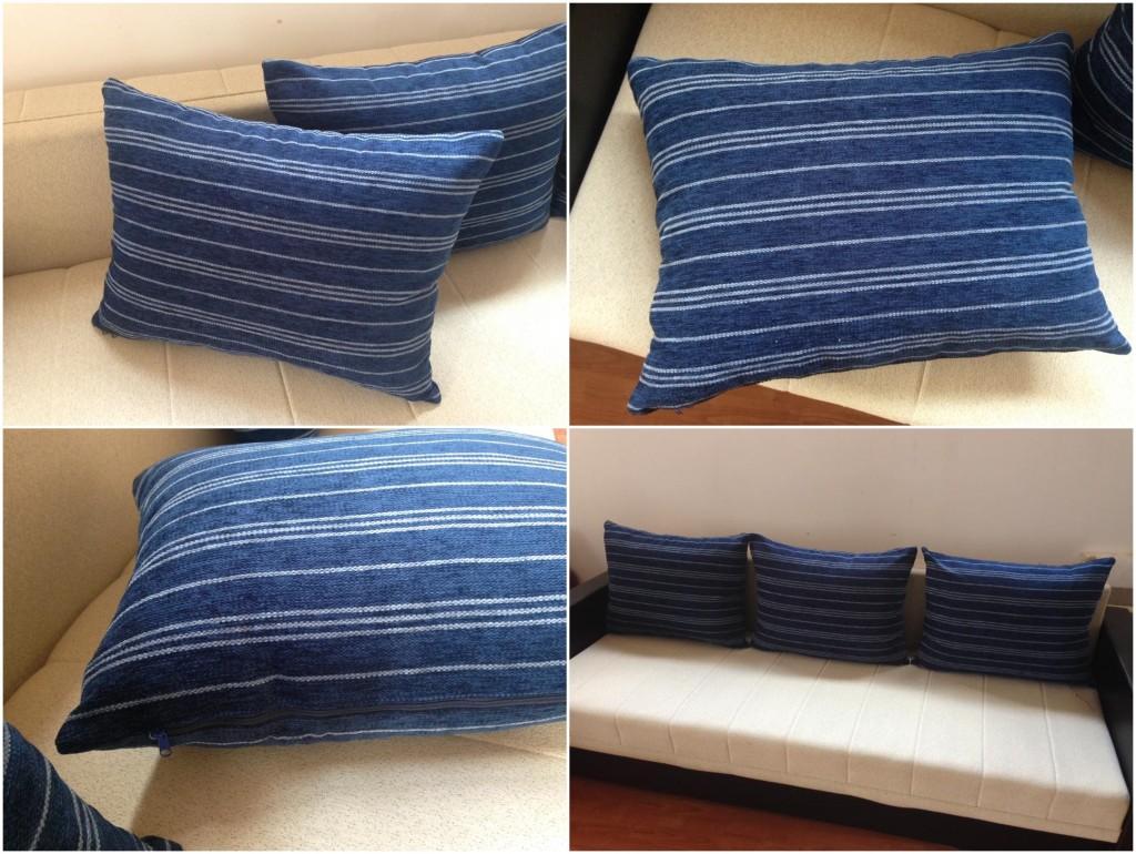 NOVO! Tri jastuka za trosed.  Punjeni pahuljama sunđera.  Dimenzije: 70 x 52 cm.   Svaka navlaka ima rajsferšlus tako da može da se skida i pere.  Izrađeni su od veoma jakih i kvalitetnih mebl štofova koji se koriste za tapaciranje nameštaja.