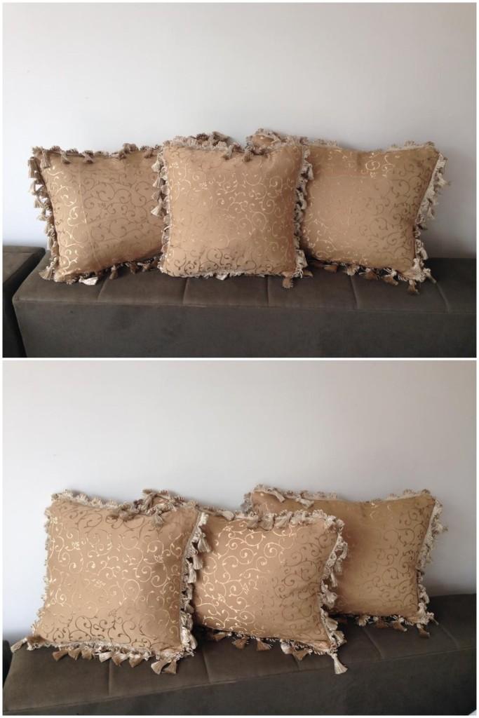 Komplet 3 dekorativna jastuka.    Dimenzije 48x33cm ( 2 veća ), 35x35cm ( 1 manji ).  Punjeni pahuljama sundjera.    Svaka navlaka ima rajsferslus tako da moze da se skida i pere.    Veoma kvalitetni i jaki materijali koji se koriste za tapaciranje nameštaja.